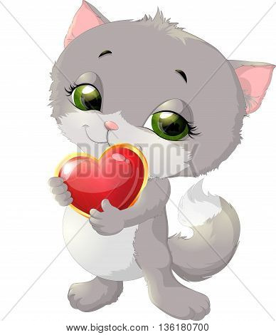 kitten who holds a heart on a white background