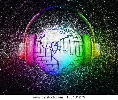 3D render of a globe with headphones with glitter effect