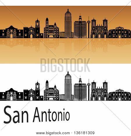 San Antonio skyline in orange background in editable vector file