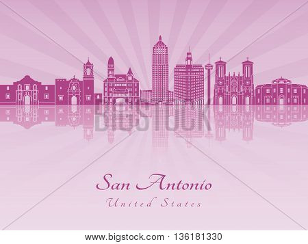 San Antonio skyline in purple radiant orchid in editable vector file