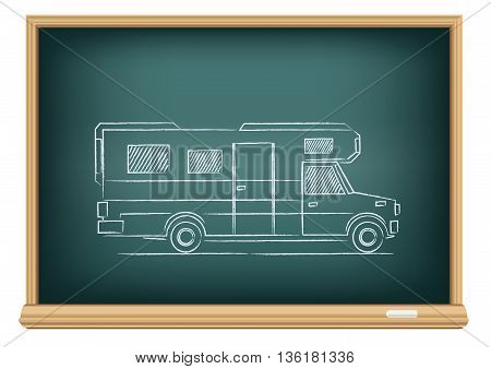 The trailer drawn on school blackboard on white background