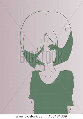 A young sad girl in anime style. Standing girl.