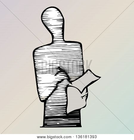 Figure of writing man. Standing writer. Outline.