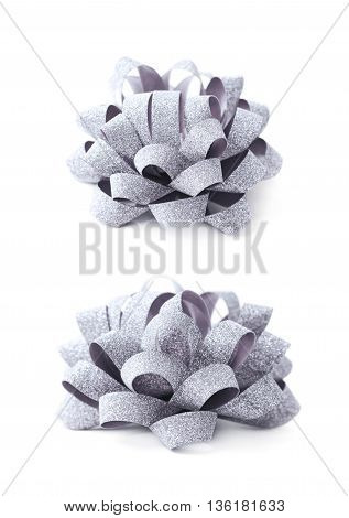 Decorational silver ribbon gift bow isolated over the white background, set collection of two diffirent foreshortenings