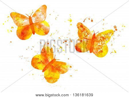 A set of three golden yellow butterflies composed of splashes of paint with more watercolor paint marks on white background; a collection of vibrant design elements