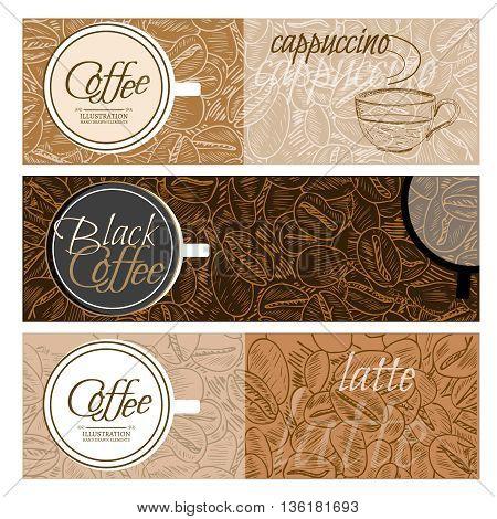 Coffee banner templates black coffee latte cappuccino hand drawn vector illustration