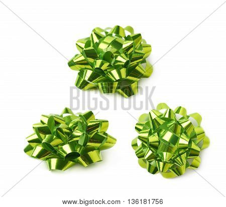 Decorational green ribbon gift bow isolated over the white background, set collection of three diffirent foreshortenings