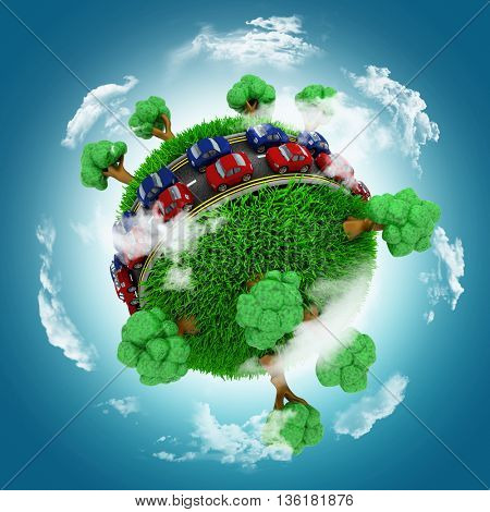 3D render of a grassy globe with cars on roads against a blue cloudy sky