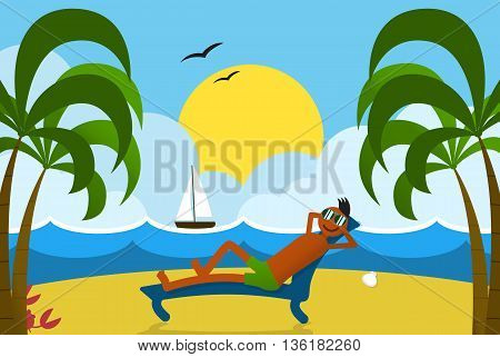 Happy sunbathing guy at beach on tropical island seashore. Summer vacation postcard. Lounging man on sunbed under palm trees. Summertime trip landscape with sunset sea sail boat and sandbeach.