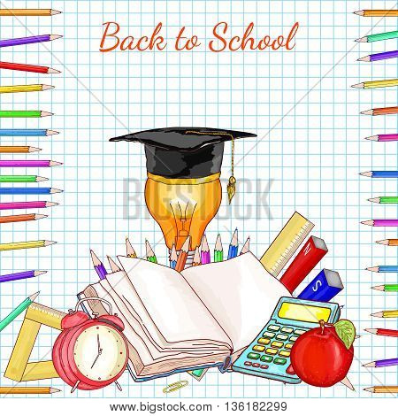 Back to school concept education school subjects open book exam study vector illustration