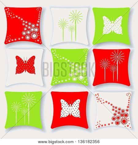 Cushions for interior in vivid red and green color vector illustration