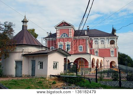 Mouse Palace museum. Architecture of Myshkin town, Russia. Popular touristic landmark situated on the Volga river.