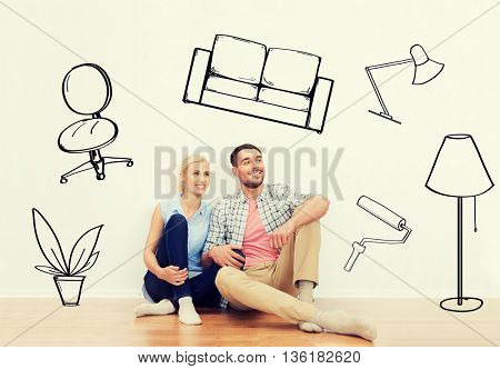 home, people, repair, moving and real estate concept - happy couple of man and woman sitting on floor at new place over interior doodles background
