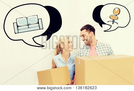 home, people, repair and real estate concept - happy couple holding cardboard boxes and moving to new place with text bubbles and furniture doodles