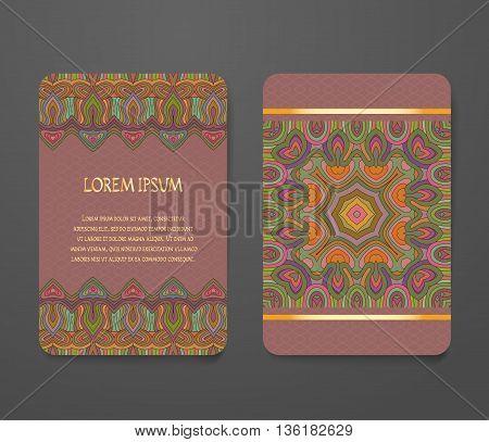 Colorful ornamental ethnic booklet set. Flyer template abstract elegant pattern vector design editable. Islam Arabic Indian ottoman. Mandala motifs.