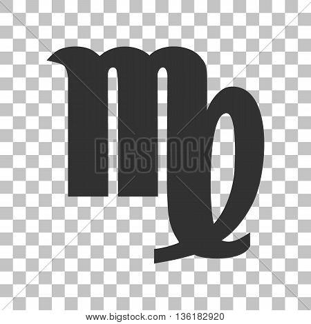 Virgo sign illustration. Dark gray icon on transparent background.
