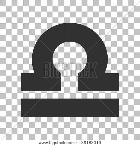 Libra sign illustration. Dark gray icon on transparent background.