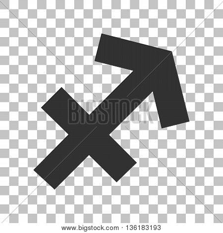 Sagittarius sign illustration. Dark gray icon on transparent background.