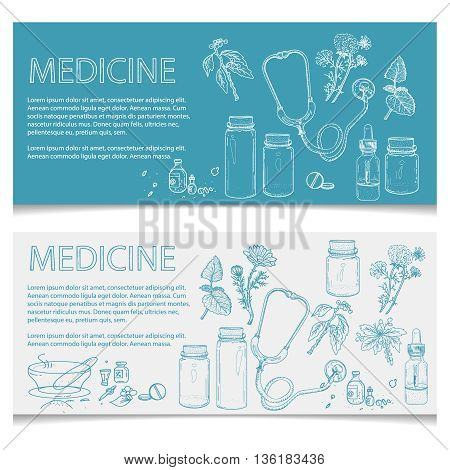 Herbal medicine banner hand drawn elements vector illustration