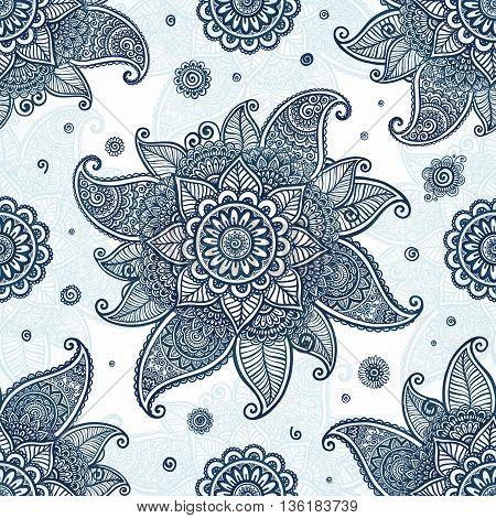 Blue tribal ethnic flowers vector seamless pattern