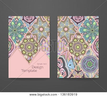 Colorful ornamental ethnic booklet set. Flyer template abstract patchwork pattern vector design editable. Islam Arabic Indian ottoman. Mandala motifs.