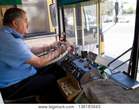 Voronezh, Russia - June 07, 2013, Public transport driver driving city bus