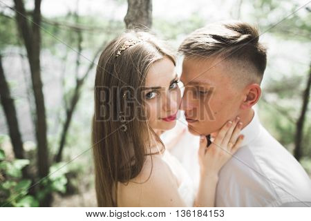 Wedding couple man, bride kissing and hugging on a background of the river and mountains. Beauty portrait.