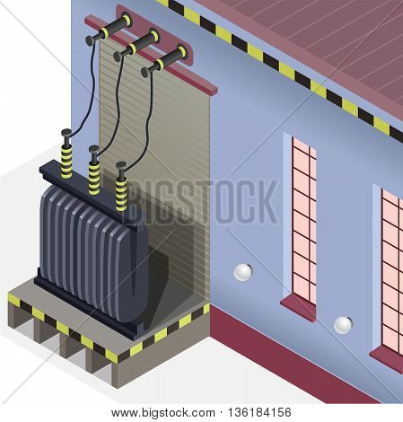 Detail of power plant. Blue power station. Electric transformer isometric building info graphic. High-voltage power station. Pictogram industrial electricity set. Flatten isolated master vector.