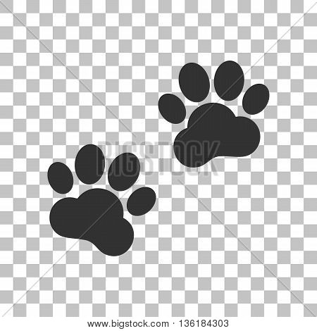 Animal Tracks sign. Dark gray icon on transparent background.