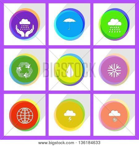 9 images: globe, recycle symbol, weather in hands, thunderstorm, drop, umbrella, snowfall, snowflake, rain. Weather set. Internet template. Vector icons.