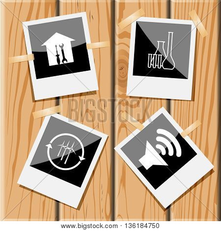4 images: workshop, chemical test tubes, wind turbine, loudspeaker. Tehnology set. Photo frames on wooden desk. Vector icons.