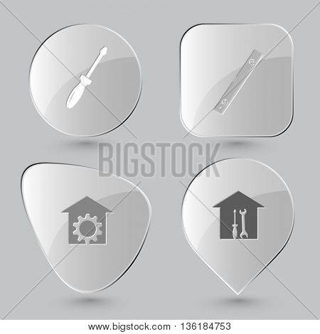 4 images: screwdriver, spirit level, repair shop, workshop. Industrial tools set. Glass buttons on gray background. Vector icons.