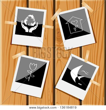 4 images: protection sea life, flower shop, tulip, fish. Nature set. Photo frames on wooden desk. Vector icons.