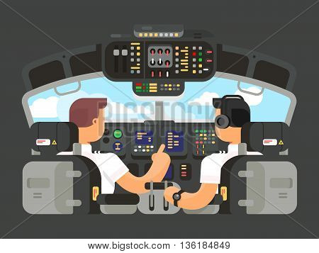Pilots in cockpit flat design. Airplane captain, and command of plane. Vector illustration