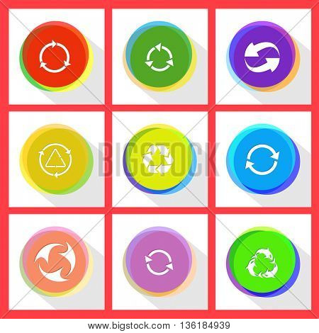 9 images of recycle symbol. Recycle symbols set. Internet template. Vector icons.