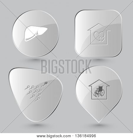 4 images: liver, orphanage, spermatozoon, nursing home. Medical set. Glass buttons on gray background. Vector icons.