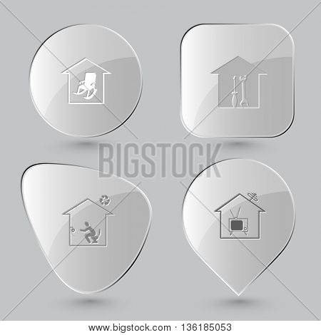 4 images: home comfort, workshop, toilet, tv. Home set. Glass buttons on gray background. Vector icons.