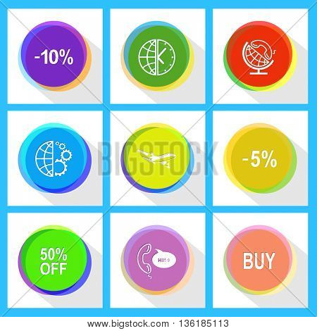 9 images: globe and handset, and clock, and gears, -10%, -5%, airliner, buy, support, 50% OFF. Business set. Internet template. Vector icons.