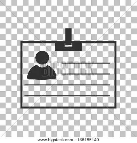 Id card sign. Dark gray icon on transparent background.