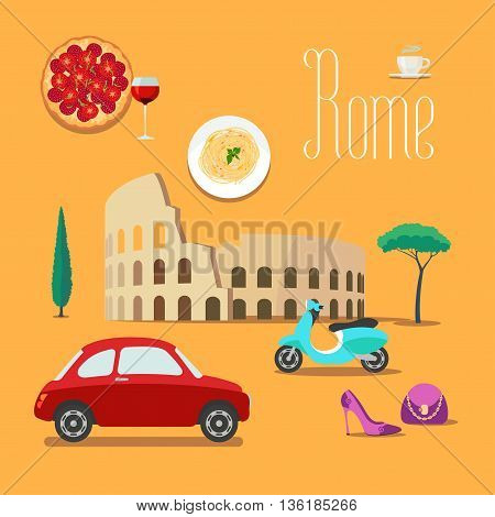 Italy and Rome vector illustration design element symbols icons. Colosseum scooter pizza