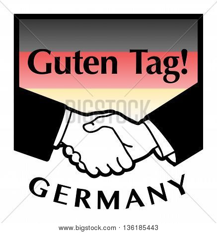 Germany flag and business handshake, vector illustration