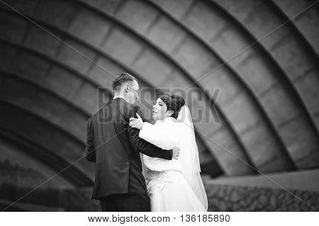 Wedding couple background singing arena  at wedding