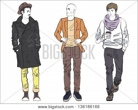 Attractive fashionable man set in fashion clothes. Color line drawing