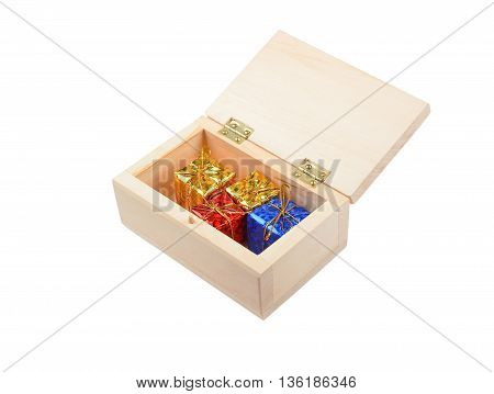 Wooden Box With Christmas Gift