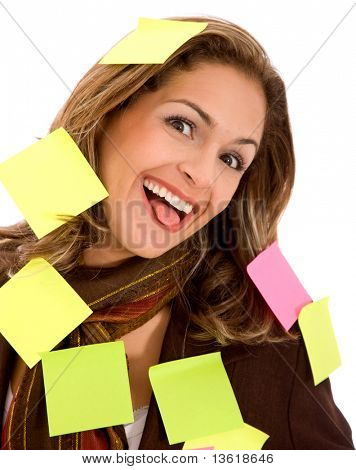 business mulitasking woman isolated over a white background