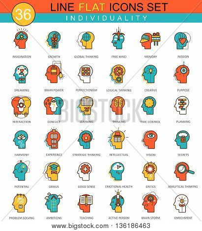 Vector Human personality and individuality features flat line icon set. Modern elegant style design for web