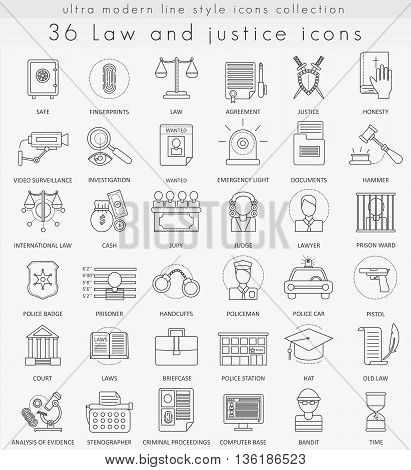Vector Law and justice ultra modern outline line icons for web and apps