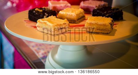 Assortment of sweet squares on a plate