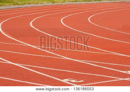 Running track in stadium, close-up, for the sport background