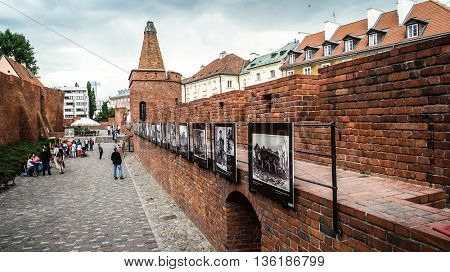 Warsaw, Poland - 20 June 2015: view on Barbakan walls and towers in Warsaw in Poland